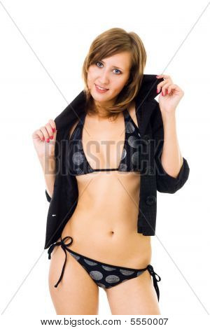 Woman In Bikini Dressing Jacket