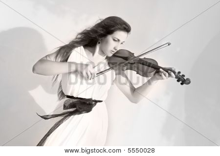 Attractive Girl Playing Violin