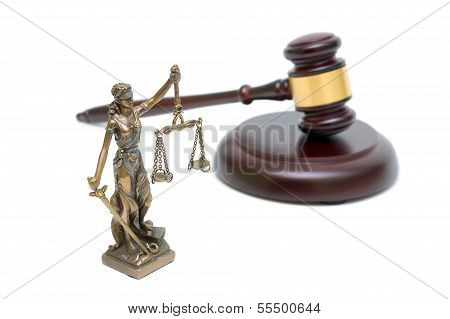 Statue Of Justice And Gavel On White Background