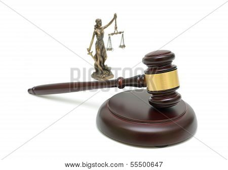 Judges Gavel And The Statue Of Justice On White Background.