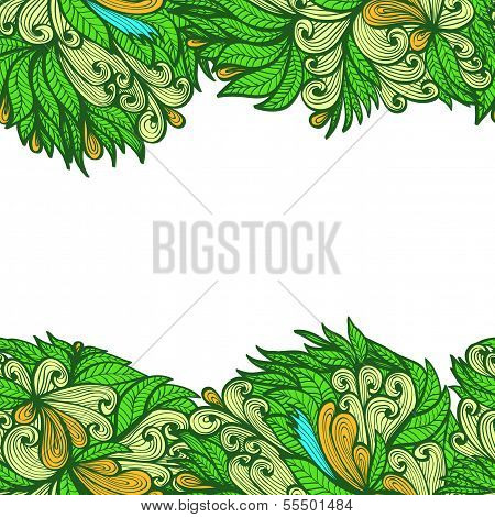 Seamless Abstract Horizontal Greenl Hand Drawn Floral Ornament
