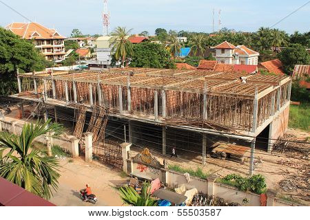 Busy Construction Site In Siem Reap, Cambodia
