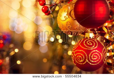 Christmas and New Year Decoration. Bauble hanging on Christmas Tree Shallow DOF