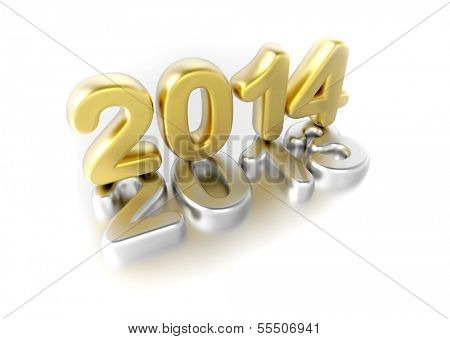new year 2014 concept - 3d render