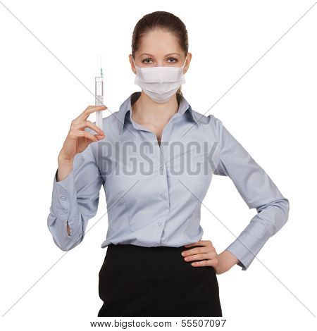 Woman In Medical Mask With Syringe