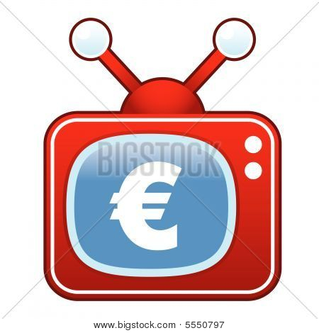 Euro currency on retro TV button