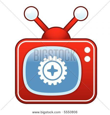 Gear on retro TV button