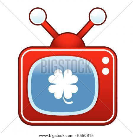 Clover on retro TV button