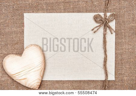 Valentine Card With Wooden Heart And Canvas