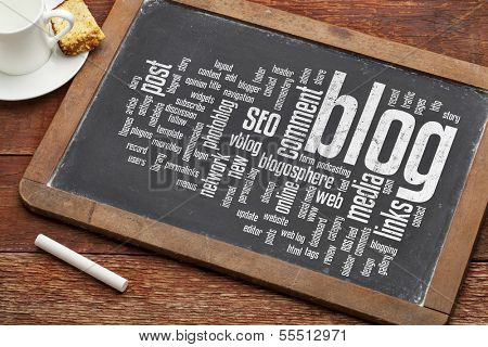 cloud of words or tags related to blogging and blog design on a  vintage slate blackboard with a chalk and  cup of coffee