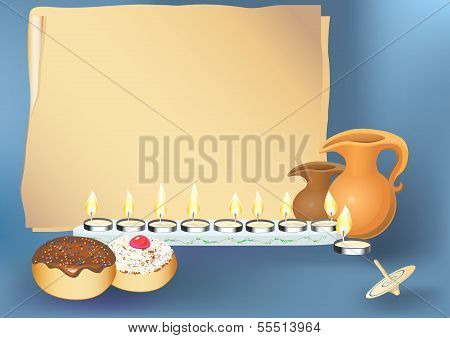 hanukkah background with candles, donuts, oil pitcher and spinning top