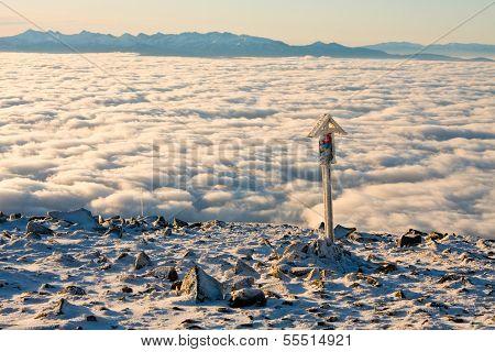 Winter Hill Scene With Fog.