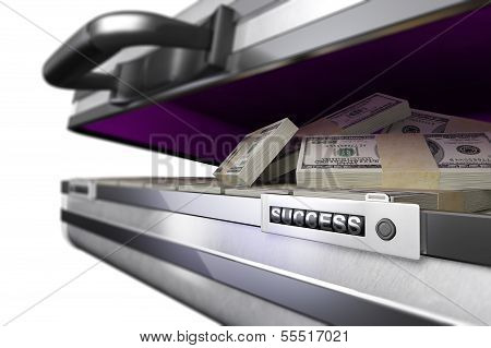 case with money and code success on white background