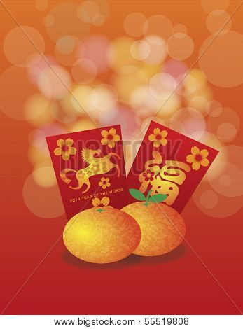 2014 Chinese New Year Of The Horse Oranges And Red Packets Background