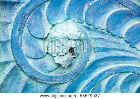Blue Poseidon Art Deco Fountain