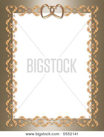 Wedding Invitation Gold Border Frame Stock photo