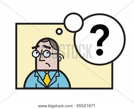 Sad businessman questions