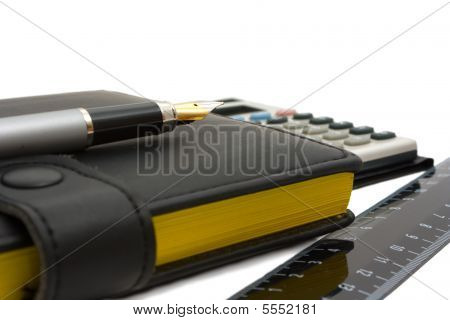 Notebook (diary), Fountail Pen, Calculator And Ruler