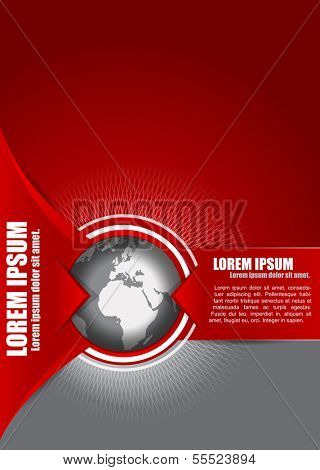 Vector abstract red background with a globe, suitable for transport, freight forwarding, transnational, or travel company. Can be used for brochures, leaflets, posters, cards and other prints.