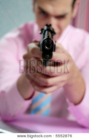 Businessman With Handgun