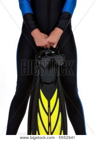 Girl In The Wet Suit Holding Mask And Fins