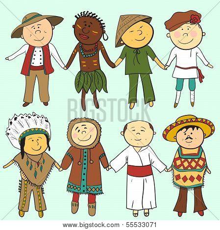 Cartoon Kinder in verschiedene Trachten