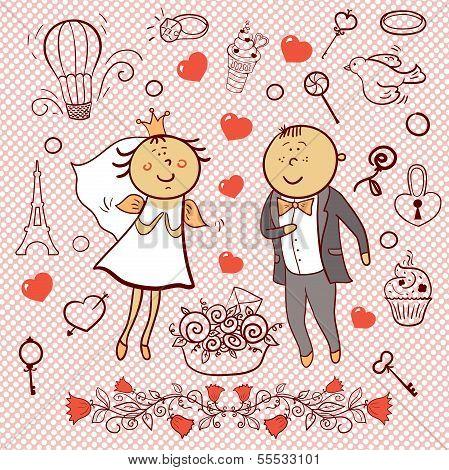 Romantic collection. Cute wedding vector set