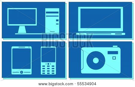 computer, tv, photo and smartphone set