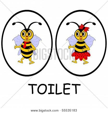 Man And Woman Restroom Signs. Funny Cartoon Bees