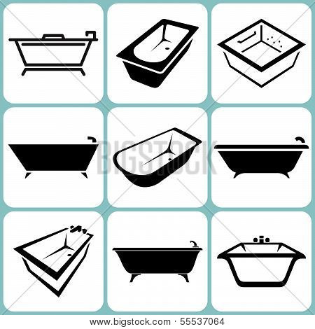 Baths Icons Set