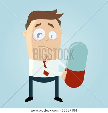 funny cartoon man with big pill