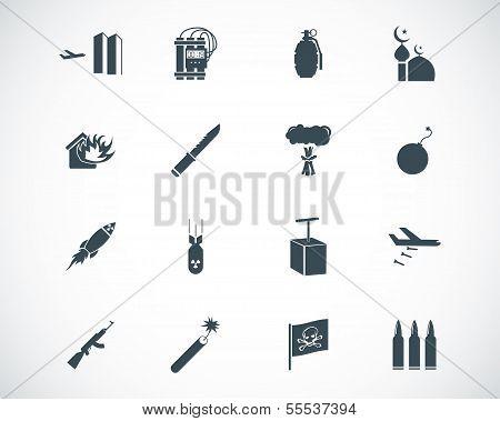 Vector black  terrorism icons set