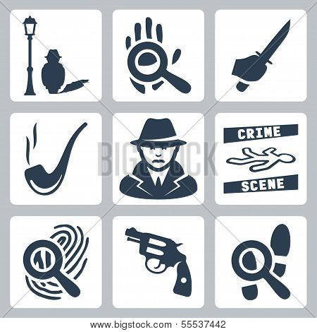 Vector Detective Icons Set
