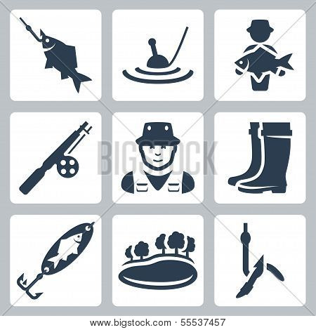 Vector Fishing Icons Set