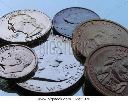 Old And New Coins Close-up