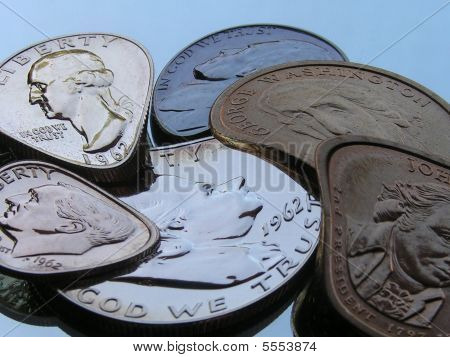 View Of Older And Newer Coins In A Flexible State