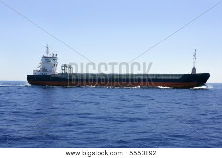 Carbo Boat In A Blues Sea And Sky
