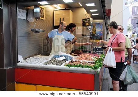 Fish stall at market, Malaga, Spain.