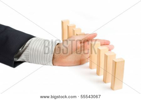 Concept For Solution To A Problem By Stopping The Domino Effect