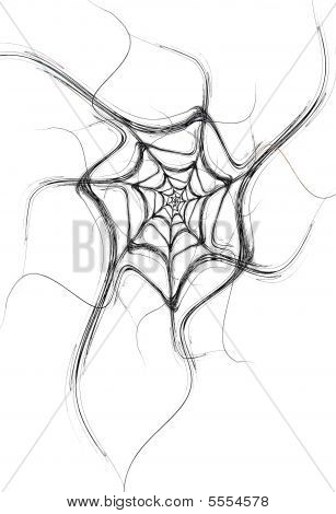 Black Fractal Spider Web On A White Background
