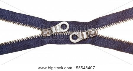 Two Sliders On Metallic Blue Zip Fastener