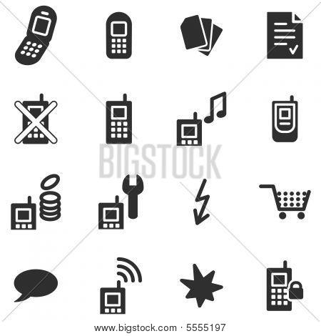 Mobile phone black web icons