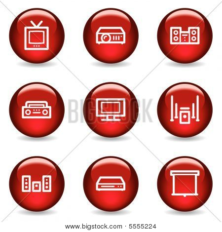 Audio video web icons, red glossy series