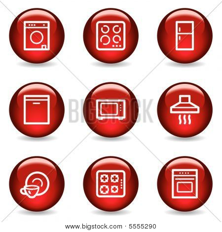 Home appliances web icons, red glossy series