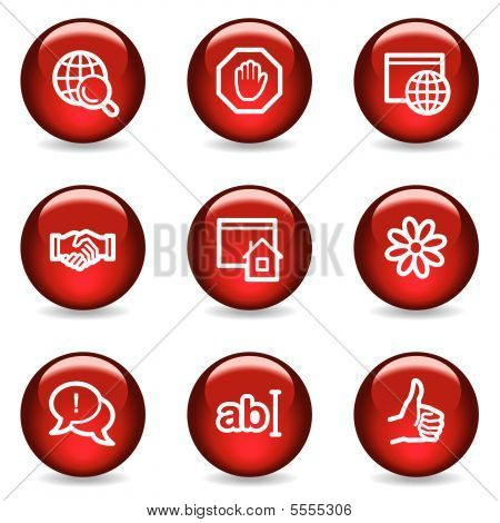 Internet Kommunikation Web Icons, red glossy-Serie