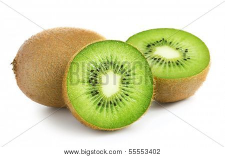 kiwi fruits on the white background