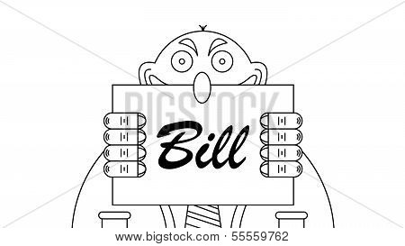 Greedy Fat Banker Outline Image Holding Bill to Pay