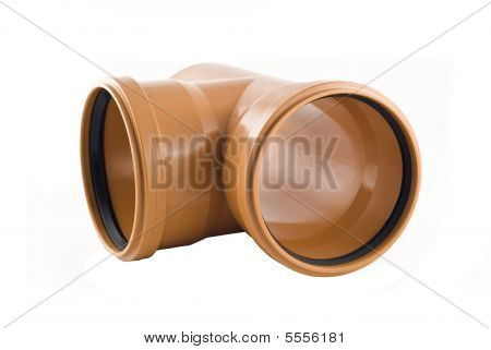 Plastic T-branch Sewer Tube Isolated Over White