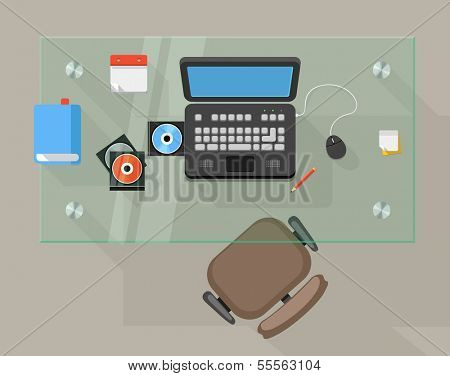 Working place of an office manager