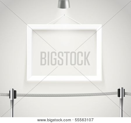 Photorealistic bright gallery with projectors. Presentation vector template